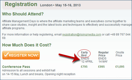 Affiliate Management Days London 2013 Early Bird Ends in Three Days