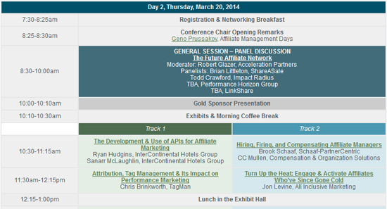 2014 Affiliate Management Conference Agenda Live, Registration Open