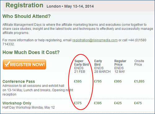 Last Chance to Save £500 on Affiliate Management Days London 2014!