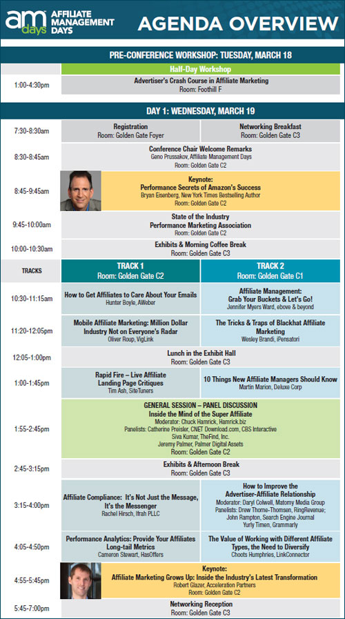 Printable Conference Agenda Now Available For Am Days Sf   Am Days